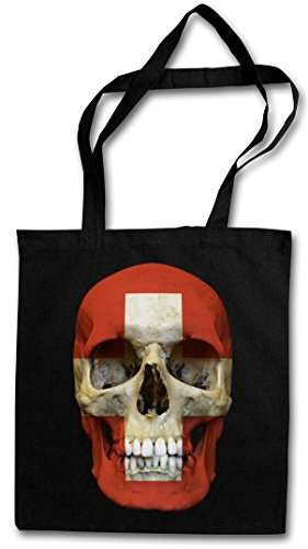 CLASSIC SUISSE SKULL FLAG Hipster Shopping Cotton Bag Cestas Bolsos Bolsas de la compra reutilizables - Bandera cráneo Schädel Banner Fahne Schweiz Suiza