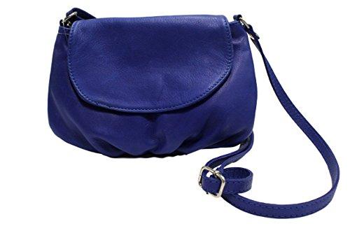 CHLOLY - Cartera de mano de Piel Lisa para mujer azul cobalto