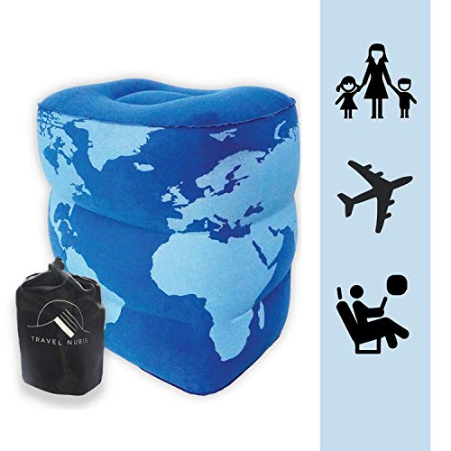 Inflatable Travel Foot Rest Pillow | Three Levels of Height | Fits Perfectly Between The Seats On an Airplane, Car Or Train