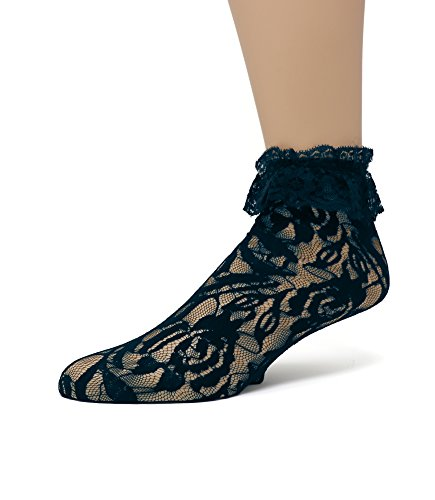 EMEM Apparel Women's Ladies Lace Anklet Ankle Quarter Socks Stockings with Ruffle Navy 9-11 ()