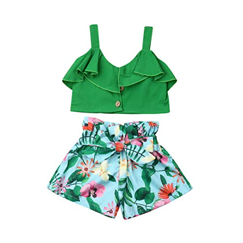 Toddler Baby Girls 2Pcs Set,Kids Ruffle Vest Crop Tops+Floral Wide Leg Pants Summer Outfits (5-6 Years, Green) -