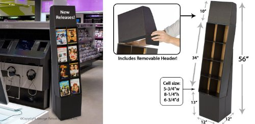 Displays2go DVD Rack with 8 Display Sections, Easy Setup, Floor-Standing POP Display Stand with Removable Header, Black Corrugated Cardboard (WCDVD8PCBK) - Cardboard Floor Display