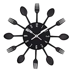 UNIQUEBELLA Cutlery Wall Clock, Fork & Spoon Kitchen Decoration Kitchen Home, 33 x 33 cm Black