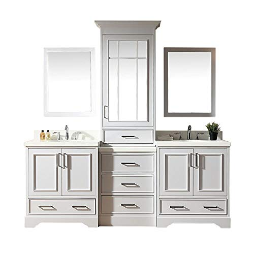 "ARIEL Stafford M085D-WHT 85"" Inch Double Sink Bathroom Vanity Set in White with White Quartz Countertop"