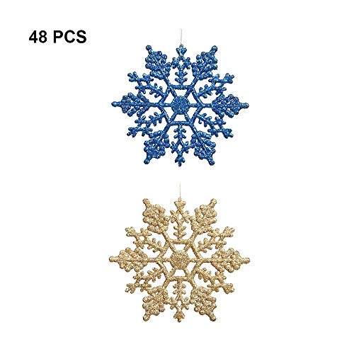 "Plastic Glitter Snowflake - Pack of 48 Multiple Color Snowflakes - 4"" Hanging Sparkling Christmas Snowflakes - Snowflake Decorations Christmas Ornaments (Blue/ Gold) -"