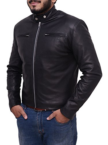 Trendhoop Men's Vintage Cafe Racer Biker Black Real Sheep Leather Jacket -