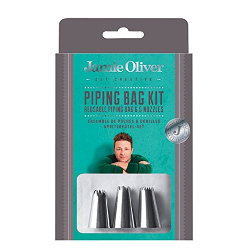 Jamie Oliver Icing Bag with Tips Set, Frosting Piping Kit Reusable for Cake Decorating - 5 Piece