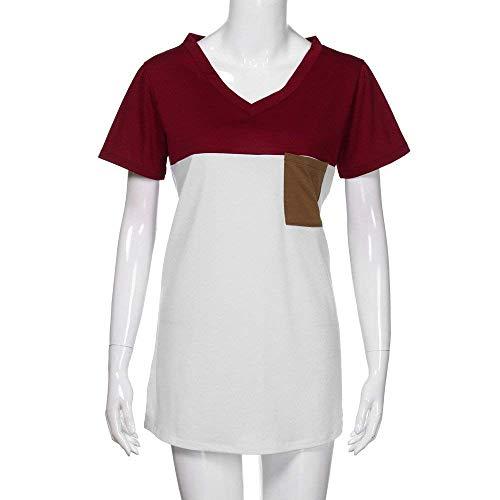Mlanges Mode V Poches Elgante Manches Chic Haut Chemise Winered Jeune Couleurs Courtes Mode Avant Costume Shirts Cou Blusen Tshirts T Et Femme Casual Branch Top 6EqPKwx