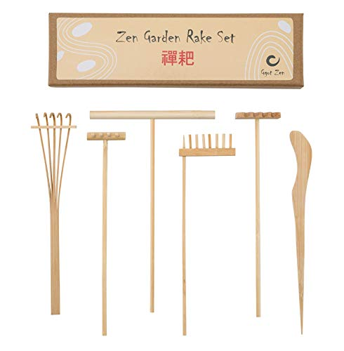 Mini Zen Garden Rake Bamboo Tool Set - Foster Serenity and Spiritual Peace Through Zen Meditation – 4 x Mini Zen Rakes 1 x Drawing Pen and 1 x Sand Pushing Pen - Great Gift idea - Rake Set