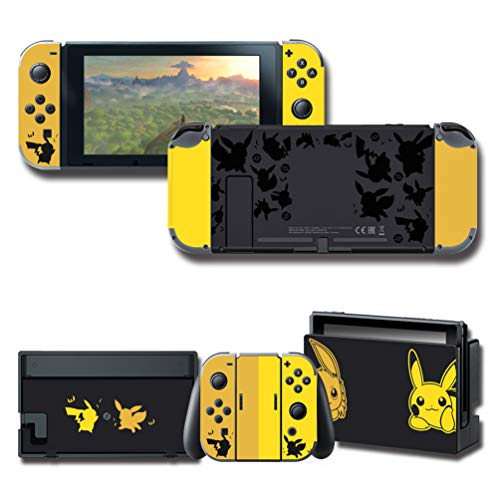 Stickers Decals Skin for Nintendo Switch, Limited Edition Yellow & Black Cover Protector Wrap Durable Full Set Protection Faceplate Console Joy-Con - Faceplate Console