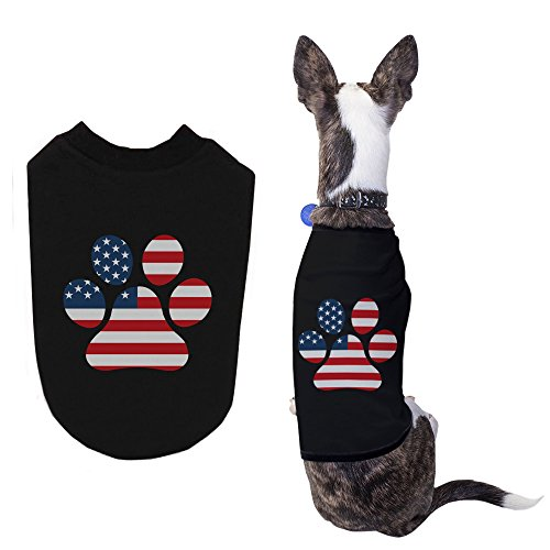 365 Printing Red White Blue Paw Cute Independence Day Shirts for Small Dog (Cute Day Pl)