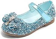 EDOSIR Girls Mary Jane Shoes Glitter Toddler Ballet Flats Hook and Loop Big Girls Princess Shoes Bow Dress Sho