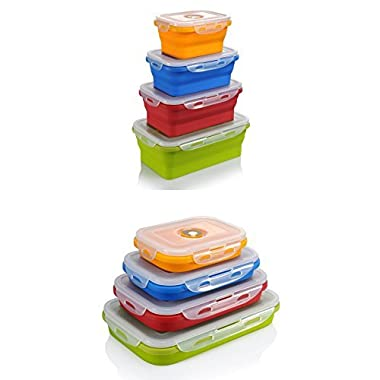 Collapsible Storage Containers For Food - Silicone Freezer Containers With Lids (Set of 4) - FOLDS TO 1/3 OF EXPANDED SIZE