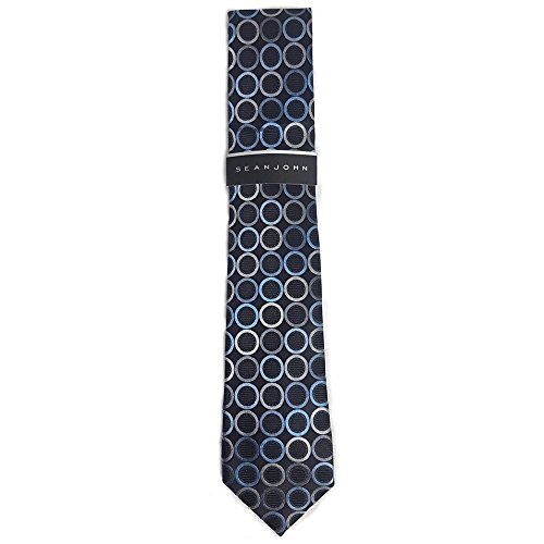 Sean John Men's Central Geo Neck Tie, Black/Blue/Grey