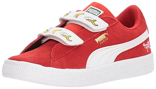 PUMA Baby Minions Suede Velcro Kids Sneaker, high Risk red White, 10 M US ()