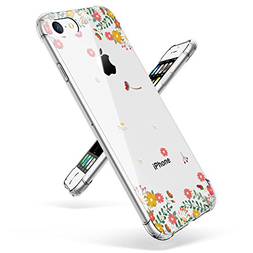 iPhone 7 Case, iPhone 8 Case, GVIEWIN Clear Flowers Design Soft TPU Silicone Ultra-Thin Slim Fit Transparent Flexible Cover Non-Slip Perfect Grip for iPhone 7 (2016) / iPhone 8 (2017), Spring Flowers by GVIEWIN