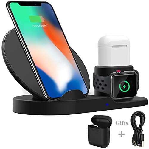 Wireless Charger Stand Station, Wonsidary Fast Charge Dock Compatible with Apple Watch Series 4/3/2/1/AirPods iPhone Xs/Xs Max/XR/X /8/8 Plus/All Qi Enabled Phone(AC Adapter Not Included) (Black-2) thumbnail