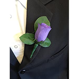 Angel Isabella Classic Rose Boutonniere(XLBN001-LV) with Very Nice Vein Pattern Printed Leaf. Pin Included (Lavender) 112