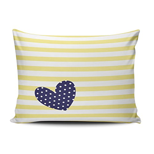 Fanaing Bedroom Custom Decor Yellow White Stripes Navy Blue Polka Dot Heart Pillowcase Soft Zippered Throw Pillow Cover Cushion Case Fashion Design One-Side Printed Boudoir 12X20 Inches
