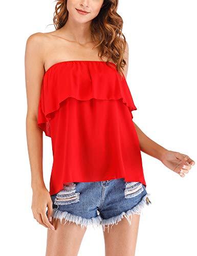 Women's Strapless Ruffle Off Shoulder Elegant Chiffon Sleeveless Tube Top Loose Blouse M Red