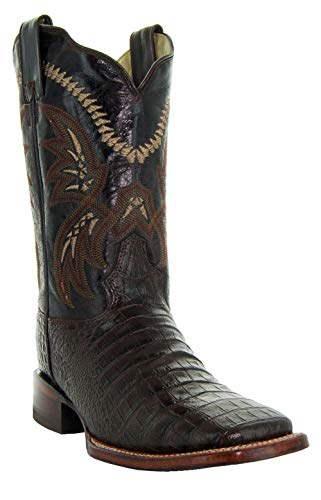 Soto Boots Men's Caiman Belly Print Cowboy Boots H4001 (Brown,10.5) ()