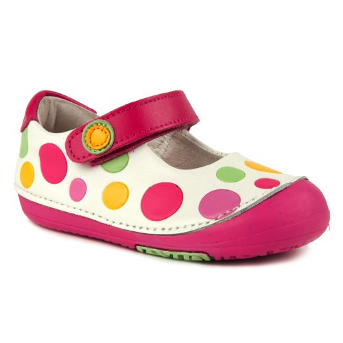 Momo Baby Girls First Walker/Toddler Rainbow Dots Mary Jane Leather Shoes
