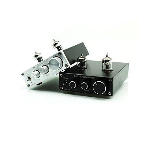 Oande HiFi 6J1 Vacuum Tube Preamp Audio Hi-Fi Stereo Pre-Amplifier Treble & Bass Tone Control - Silver