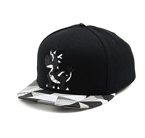 Dragon Logo Hat - Animal Embroidered/Sculpture Flat Brim Adjustable Snapback Cap (Kids Dragon Black)