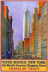 NEW YORK 5th AVENUE Shopping by Train - Vintage Travel Poster - Poster Size : A4 by Poster World - Shopping North Avenue