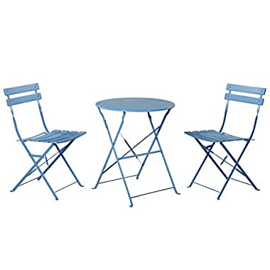 Grand Patio Steel Folding Outdoor Furniture Set for Bistro/ Patio/ Backyard, Patio Furniture Sets, 3 PCS Set of Foldable Table and Chairs, Blue