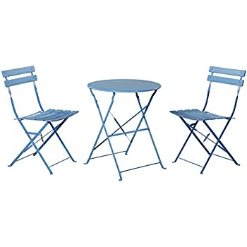 grand patio outdoor balcony folding steel bistro furniture sets foldable table and chairs blue
