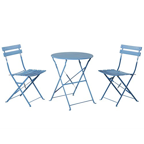 Grand patio Outdoor Balcony Folding Steel Bistro Furniture Sets, Foldable Table and Chairs, Blue (Bistro Garden Chairs)