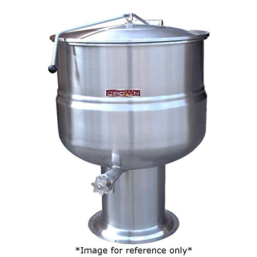Crown DP-30 Direct Steam Stationary Kettle with 30 Gallon Capacity, 2/3 Jacket & Pedestal Base (Direct Steam Pedestal Kettle Stationary)