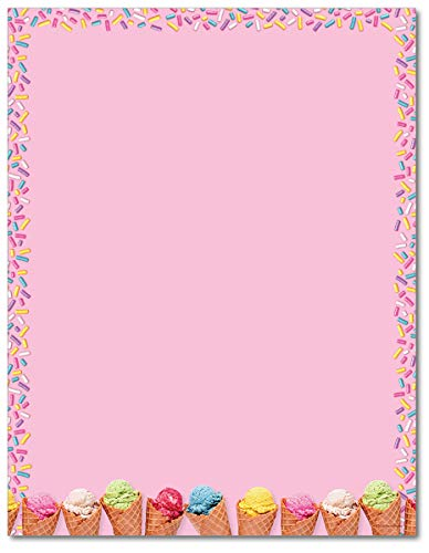 (Ice Cream Scoops and Sprinkles Stationery Paper - 80 Sheets)