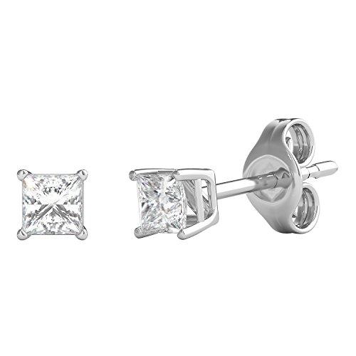 Cut Diamond Square Post Earrings - Helzberg Diamonds 10K White Gold 1/4 cttw Square Princess-Cut Diamond (I-J Color, I3 Clarity) Stud Earrings