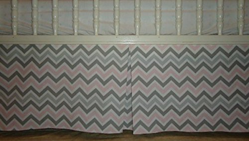 Light Pink and two shades of grey chevron crib Skirt 4 Sided box Pleat, baby girl crib nursery bedding dust ruffle, home decor, (15 inches long) ()