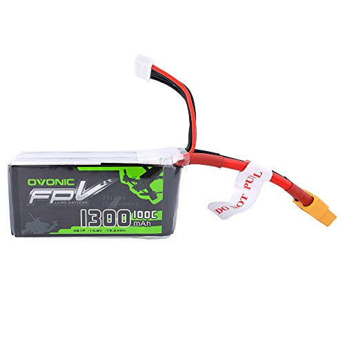 OVONIC 14.8V 1300mAh 100C 4S LiPo Battery Pack with XT60 Plug for FPV Racing RC Quadcopter Helicopter Airplane Multi-motor Hobby DIY Parts by OVONIC