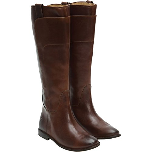 FRYE Women's Paige Tall Riding Boot, Cognac Burnished Full Grain, 9.5 M US