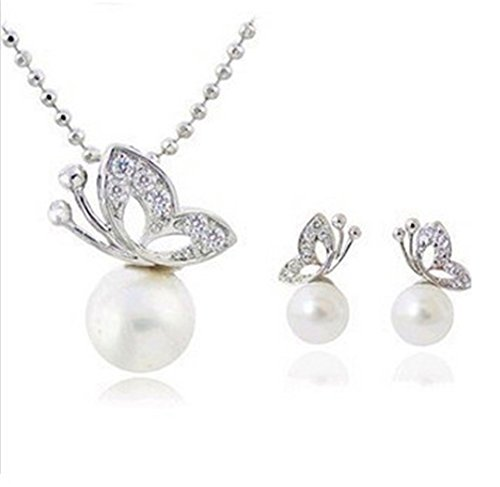 Zspin X38 Full Rhinestone Butterfly Imitation Pearl Earrings And Necklace Jewelry Set Wholesale