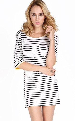 ZEARO Damen Kleid Rundhals Gestreift Stretch Basic T-Shirt Oberteile schlank Bluse Weiß 5w8VP28YJ