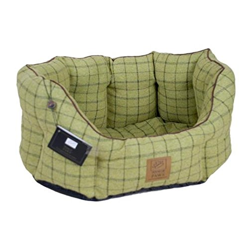 House of Paws Soft Green Tweed Dog Bed Anti Slip Base
