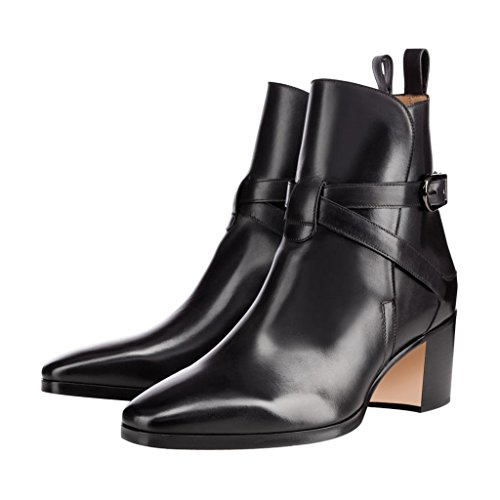 6f57f4f60f5 low-cost XYD Formal Dress Boots Closed Toe Mid Heels Patent Leather Booties  Ankle High