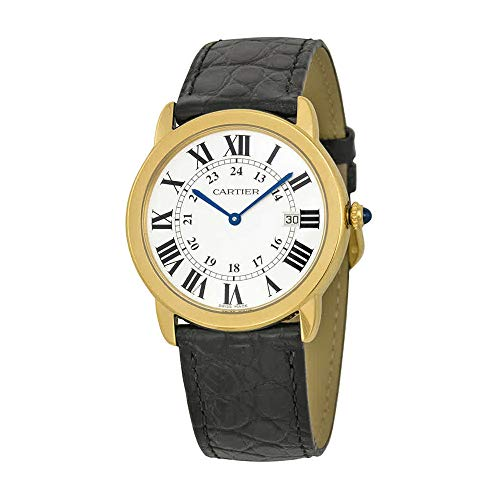 - Cartier Men's W6700455 Ronde Black Leather Roman Numeral Watch