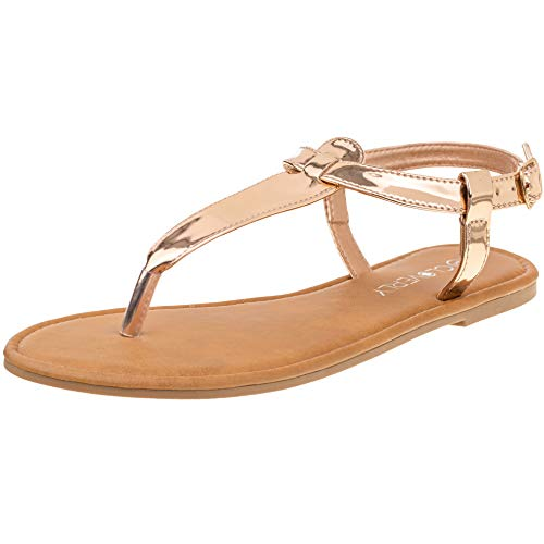 CLOVERLY Women's T Strap Thong Gladiator Strappy Jelly Shiny Flat Flip Flops Sandals (8 M US, Rose Gold) ()