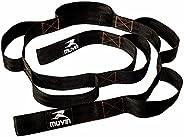Fita de Alongamento Muvin - Faixa de Resistência Rígida - Não Elástica - 160cm Comprimento com 8 Alças de 15cm