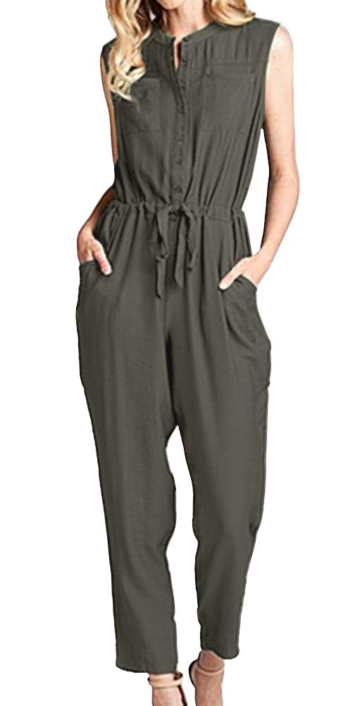 Vertvie Office Ladies' High Waist Jumpsuit with Belt Solid Color Sleeveless Cargo Romper Wide Leg Long Party Playsuit(Army Green,XL)