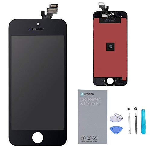 (URSEND for iPhone 5 LCD Touch Screen Display Digitizer Screen Replacement Assembly with Repair Tool - Black)