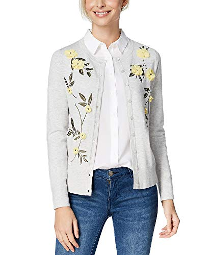 Charter Club Floral Appliqué Cardigan (Silver Heather, M)