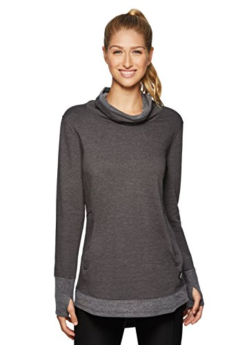 RBX Active Women's Fleece Lined Cowl Neck Tunic Sweater Grey L