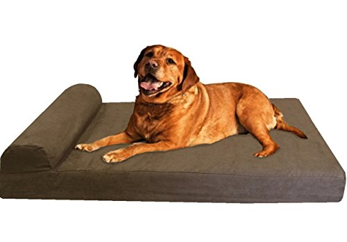 Dogbed4less Premium Large Head Rest Orthopedic Gel Cooling Memory Foam Pet Dog Bed, Waterproof Internal Case and Washable External Suede Cover 47